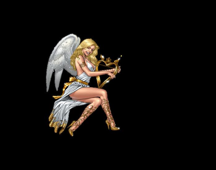 Aniołek ze złotą harfą