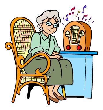 Młodziutka babcia słuchająca muzyki
