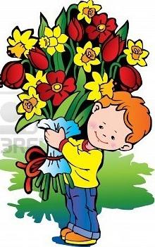 Znalezione obrazy dla zapytania chłopiec z kwiatami gify